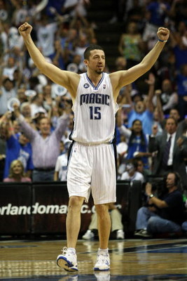 ORLANDO, FL - MAY 26:  Hedo Turkoglu #15 of the Orlando Magic celebrates a three point shot by teammate Rashard Lewis to take the lead 100-98 over the Cleveland Cavaliers in the fourth quarter of Game Four of the Eastern Conference Finals during the 2009
