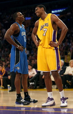 LOS ANGELES - JANUARY 16:  Andrew Bynum #17 of the Los Angeles Lakers and Dwight Howard #12 of the Orlando Magic look on during a break in their NBA game on January 16, 2009 at Staples Center in Los Angeles, California. The Magic won 109-103.   NOTE TO US