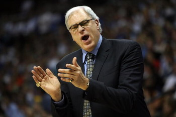 DENVER - MAY 29:  Head coach Phil Jackson of the Los Angeles Lakers reacts in the first half against the Denver Nuggets in Game Six of the Western Conference Finals during the 2009 NBA Playoffs at Pepsi Center on May 29, 2009 in Denver, Colorado. NOTE TO