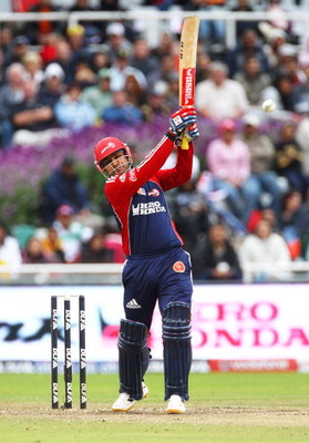 CAPE TOWN, SOUTH AFRICA - APRIL 19:  Virender Sehwag of Delhi hits out during the  IPL T20 match between Delhi Daredevils and Kings XI Punjab on April 19, 2009 in Cape Town, South Africa.  (Photo by Tom Shaw/Getty Images)