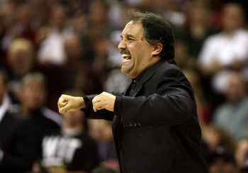 CLEVELAND - MAY 28: Head coach Stan Van Gundy of the Orlando Magic reacts from the sidelines against the Cleveland Cavaliers in Game Five of the Eastern Conference Finals during the 2009 Playoffs at Quicken Loans Arena on May 28, 2009 in Cleveland, Ohio.