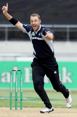 WELLINGTON, NEW ZEALAND - JANUARY 07:  Daniel Vettori of the Blackcaps celebrates Denesh Ramdin of the West Indies being dismissed for LBW during the third One Day International match between the New Zealand Black Caps and the West Indies at Westpac Stadi