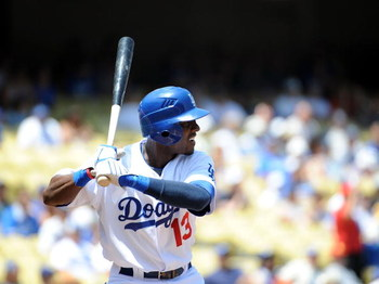 LOS ANGELES, CA - MAY 09:  Orlando Hudson #13 of the Los Angeles Dodgers at bat against the San Francisco Giants at Dodger Stadium on May 9, 2009 in Los Angeles, California.  (Photo by Harry How/Getty Images)