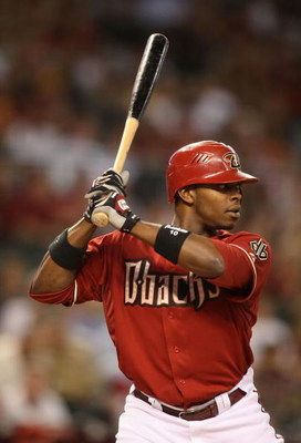 PHOENIX - MAY 26:  Justin Upton #10 of the Arizona Diamondbacks bats against the San Diego Padres during the major league baseball game at Chase Field on May 26, 2009 in Phoenix, Arizona. The Diamondbacks defeated the Padres 6-5.  (Photo by Christian Pete