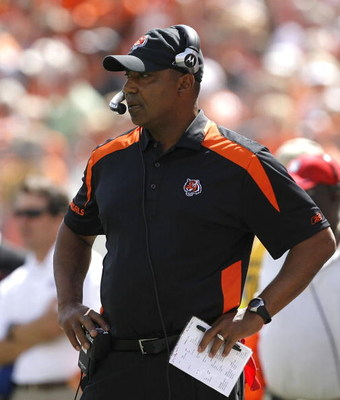 CINCINNATI - SEPTEMBER 14:  Marvin Lewis head coach of the Cincinnati Bengals watches his team against the Tennessee Titans during the second quarter of their NFL game September 14, 2008 at Paul Brown Stadium in Cincinnati, Ohio. The Titans defeated the B