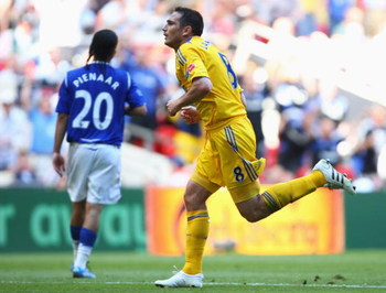 LONDON, ENGLAND - MAY 30:  Frank Lampard of Chelsea celebrates scoring their second goal during the FA Cup sponsored by E.ON Final match between Chelsea and Everton at Wembley Stadium on May 30, 2009 in London, England.  (Photo by Mike Hewitt/Getty Images