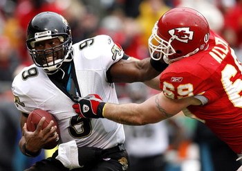 KANSAS CITY, MO - DECEMBER 31:  Jared Allen #69 of the Kansas City Chiefs attempts to sack quarterback David Garrard #9 of the Jacksonville Jaguars on December 31, 2006 at Arrowhead Stadium in Kansas City, Missouri.  (Photo by Dilip Vishwanat/Getty Images