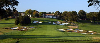 BETHPAGE, NY - SEPTEMBER 23:  The par 4, 18th hole on the Black Course at Bethpage State Park, venue for the 2009 US Open Championship, on September 23, 2008 in Bethpage, New York.  (Photo by David Cannon/Getty Images)