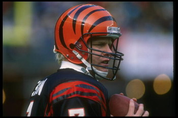 17 Dec 1988: Quarterback Boomer Esiason of the Cincinnati Bengals looks on during a game against the Washington Redskins at Riverfront Stadium in Cincinnati, Ohio. The Bengals won the game, 20-17.