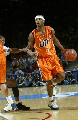 TUCSON, AZ - MARCH 17:  Jason Williams #1 of the UTEP Miners dribbles against the defense of the Utah Utes during the first round of the NCAA Men's Basketball Championship on March 17, 2005 in Mckale Center Arizona, Tucson. (Photo by Stephen Dunn/Getty Im