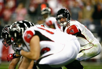 GLENDALE, AZ - JANUARY 03:  Quarterback Matt Ryan #2 of the Atlanta Falcons hikes the ball in the NFC Wild Card Game against the Arizona Cardinals on January 3, 2009 at University of Phoenix Stadium in Glendale, Arizona. The Cardinals defeated the Falcons