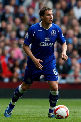 BIRMINGHAM, ENGLAND - APRIL 12: Phil Jagielka of Everton in action during the Premier League  match between Aston Villa and Everton at Villa Park on April 12, 2009 in Birmingham, England.  (Photo by Stu Forster/Getty Images)