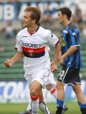 BERGAMO, ITALY - MAY 10:  Domenico Criscito of Genoa reacts during the Serie A match between Atalanta and Genoa at the Stadio Azzurri D`Italia on MAY 10 2009 in Bergamo, Italy. (Photo by New Press/Getty Images)