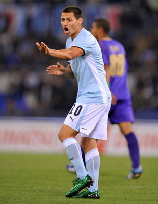 Rome, ITALY - SEPTEMBER 24: Mauro Zarate of Lazio in action during the Serie A match between Lazio and Fiorentina at the Stadio Marazzi  on September 24, 2008 in Rome, Italy. (Photo by New Press/Getty Images)
