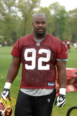 ASHBURN, VA - MAY 1:  Albert Haynesworth #92 of the Washington Redskins walks off the field after minicamp on May 1, 2009 at Redskins Park in Ashurn, Virginia.   (Photo by Mitchell Layton/Getty Images)