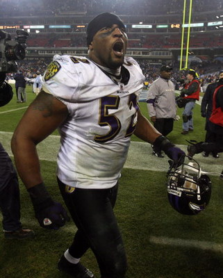 NASHVILLE, TN - JANUARY 10:  Linebacker Ray Lewis #52 of the Baltimore Ravens walks off the field after defeating the Tennessee Titans 13-10 during the AFC Divisional Playoff Game on January 10, 2009 at LP Field in Nashville, Tennessee.  (Photo by Andy Ly