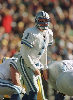 3 Nov 1996:  Quarterback Don Majkowski #1 of the Detroit Lions shouts instructions to his team during the Lions 28-18 loss to the Green Bay Packers at Lambeau Field in Green Bay, Wisconsin. Majkowski replaced an injured Scott Mitchell to start the game. M