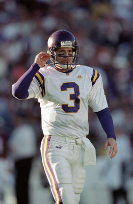 31 Oct 1999: Jeff George #3 of the Minnesota Vikings walks on the field during the game against the Denver Broncos at the Mile High Stadium in Denver, Colorado. The Vikings defeated the Broncos 23-20. Mandatory Credit: Brian Bahr  /Allsport