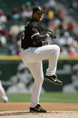CHICAGO - APRIL 5:  Mark Buehrle #56 of the Chicago White Sox pitches against the Cleveland Indians on April 5, 2007 at U.S. Cellular Field in Chicago, Illinois. The White Sox defeated the Indians 4-3. (Photo by Jonathan Daniel/Getty Images)