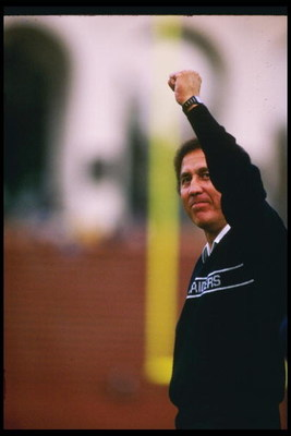 6 Dec 1987:  Los Angeles Raiders head coach Tom Flores looks on during a game against the Buffalo Bills at the Los Angeles Memorial Coliseum in Los Angeles, California.  The Raiders won the game, 34-21. Mandatory Credit: Mike Powell  /Allsport