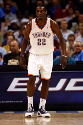 OKLAHOMA CITY - OCTOBER 29:  Jeff Green #22 of the Oklahoma City Thunder stands on the court during the game against the Milwaukee Bucks at the Ford Center on October 29, 2008 in Oklahoma City, Oklahoma. The Bucks won 98-87.  NOTE TO USER: User expressly