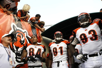 CINCINNATI - AUGUST 18:  T.J. Houshmandzadeh #84, Robert Geathers #91 and Rashad Jeanty #93 of the Cincinnati Bengals get ready to take the field before a preseason NFL game against the New Orleans Saints on August 18, 2007 at Paul Brown Stadium in Cincin