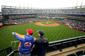 FLUSHING, NY - MARCH 29:  Spectators admire the new stadium during the Georgetown Hoyas and St. John's Red Storm game at Citi Field on March 29, 2009 in the Flushing neighborhood of the Queens borough of New York City. This is the first event to be held a