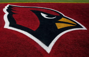 TAMPA, FL - FEBRUARY 01:  The Arizona Cardinals logo is seen in the end zone before Super Bowl XLIII on February 1, 2009 at Raymond James Stadium in Tampa, Florida.  (Photo by Jamie Squire/Getty Images)