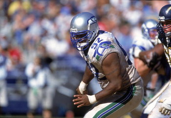 24 Sep 2000: Lamar King #92 of the Seattle Seahawks moves on the field during the game against the San Diego Chargers at Qualcomm Stadium in San Diego, California. The Seahawks defeated the Chargers 20-12.Mandatory Credit: Stephen Dunn  /Allsport