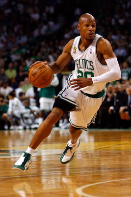 BOSTON - JUNE 17:  Ray Allen #20 of the Boston Celtics drives to the basket in Game Six of the 2008 NBA Finals against the Los Angeles Lakers on June 17, 2008 at TD Banknorth Garden in Boston, Massachusetts. The Celtics defeated the Lakers 131-92 to win t