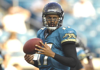 JACKSONVILLE, FL - AUGUST 9: Quarterback Cleo Lemon #17 of the Jacksonville Jaguars warms up for play against the Atlanta Falcons at Jacksonville Municipal Stadium on August 9, 2008 in Jacksonville, Florida.   (Photo by Al Messerschmidt/Getty Images)