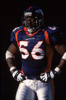 5 Dec 1999: Al Wilson #56 of the Denver Broncos waits on the field during the game against the Kansas City Chiefs at the Mile High Stadium in Denver, Colorado. The Chiefs defeated the Broncos 16-10. Mandatory Credit: Brian Bahr  /Allsport