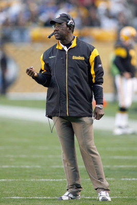PITTSBURGH - OCTOBER 26:  Assistant head coach John Mitchell of the Pittsburgh Steelers walks on the field during the game against the New York Giants at Heinz Field on October 26, 2008 in Pittsburgh, Pennsylvania. (Photo by: Rick Stewart/Getty Images)