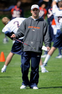 ENGLEWOOD, CO - MAY 03:  Head coach Josh McDaniels of the Denver Broncos oversees practice during minicamp at the Broncos training facility on May 3, 2009 in Englewood, Colorado.  (Photo by Doug Pensinger/Getty Images)