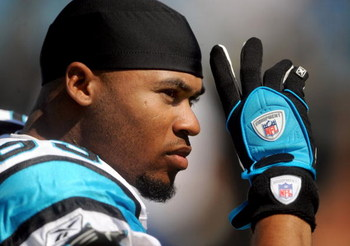 CHARLOTTE, NC - SEPTEMBER 28:  Wide receiver Steve Smith #89 of the Carolina Panthers waves to some fans in the crowd before the game against the Atlanta Falcons at Bank of America Stadium on September 28, 2008 in Charlotte, North Carolina. The Carolina P