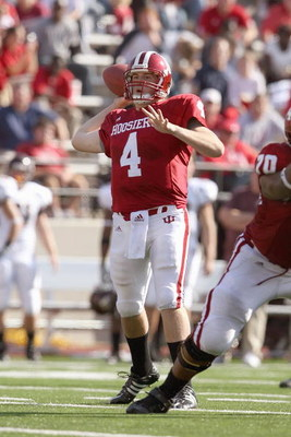 BLOOMINGTON, IN - NOVEMBER 01:  Quarterback Ben Chappell #4 of the Indiana Hooisers passes the ball downfield during the game against the Central Michigan Chippewas at Memorial Stadium on November 1, 2008 in Bloomington, Indiana.  (Photo by Andy Lyons/Get