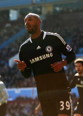 BIRMINGHAM, UNITED KINGDOM - FEBRUARY 21:  Nicolas Anelka of Chelsea celebrates his goal during the Barclays Premier League match between Aston Villa and Chelsea at Villa Park on February 21, 2009 in Birmingham, England.  (Photo by Clive Brunskill/Getty I