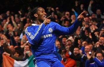 LONDON - FEBRUARY 25:  Didier Drogba of Chelsea celebrates his opening goal during the UEFA Champions League, Round of Last 16, First Leg match between Chelsea and Juventus at Stamford Bridge on February 25, 2009 in London, England.  (Photo by Phil Cole/G