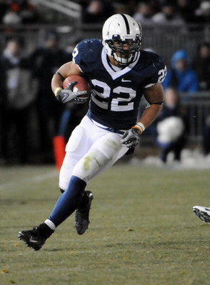 STATE COLLEGE - NOVEMBER 22:  Evan Royster #22 of the Penn State Nittany Lions runs the ball against the Michigan State Spartans on November 22, 2008 at Beaver Stadium in State College, Pennsylvania.  (Photo by Joe Sargent/Getty Images)