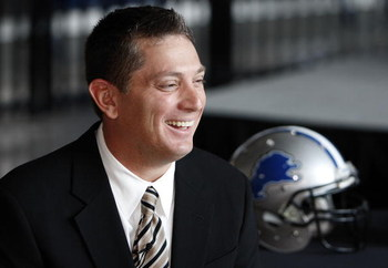 DETROIT , MI - JANUARY 16:  Jim Schwartz head coach of the Detroit Lions talks with the media after press conference to introduce him as the Lions new head coach on January 16, 2009 at Ford Field in Detroit, Michigan.  (Photo by Gregory Shamus/Getty Image