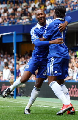 LONDON, ENGLAND - MAY 02:  Nicolas Anelka of Chelsea celebrates with his team mate Didier Drogba after Anelka scored the first goal  during the Barclays Premier League match between Chelsea and Fulham at Stamford Bridge on May 2, 2009 in London.  (Photo b