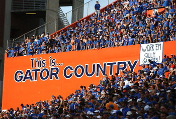 GAINESVILLE, FL - SEPTEMBER 15:  Gator fans cheer as the Tennessee Volunteers take on the Florida Gators at Ben Hill Griffin Stadium on September 15, 2007 in Gainesville, Florida. Florida defeated Tennessee 59-20.  (Photo by Doug Benc/Getty Images)