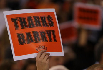 SAN FRANCISCO - SEPTEMBER 26: A fan of Barry Bonds of the San Francisco Giants holds a sign during their game against the San Diego Padres on September 26, 2007 at AT&T Park in San Francisco, California.   (Photo by Jed Jacobsohn/Getty Images)