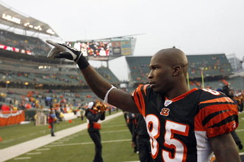 CINCINNATI - DECEMBER 09: Chad Johnson# 85 of the Cincinnati Bengals celebrates after the game against the St. Louis Rams at Paul Brown Stadium on December 9, 2007 in Cincinnati, Ohio. Cincinnati defeated St. Louis 19-10. (Photo by Kevin C. Cox/Getty Imag