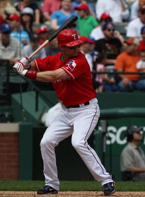 ARLINGTON, TX - APRIL 19:  Third baseman Michael Young #10 of the Texas Rangers at bat on April 19, 2009 at Rangers Ballpark in Arlington, Texas.  (Photo by Ronald Martinez/Getty Images)