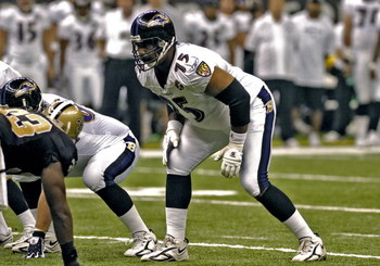 Baltimore Ravens tackle Jonathan Ogden sets to block   during a pre-season game against the New Orleans Saints August 26, 2005 in New Orleans.  (Photo by Al Messerschmidt/Getty Images)