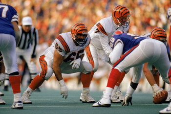 BUFFALO, NY - NOVEMBER 26:  Max Montoya #65 of the Cincinnati Bengals stares down a Buffalo Bills defender during the NFL game at Rich Stadium on November 26, 1989 in Buffalo, New York. The Bills defeated the Bengals 24-7. (Photo by Rick Stewart/Getty Ima