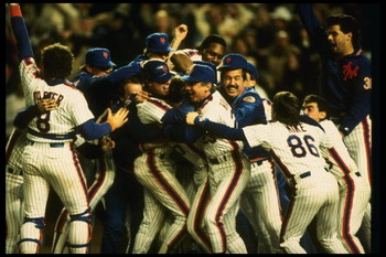 27 Oct 1986:  The New York Mets celebrate after an 8-5 win over the Boston Red Sox in game 7 of the World Series at Shea Stadium in Flushing, New York.  The Mets won the series 4 games to 3. Mandatory Credit: T. G. Higgins  /Allsport