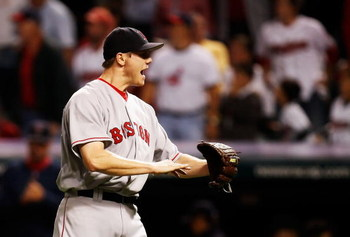CLEVELAND - OCTOBER 18:  Closing pitcherJonathan Papelbon #58 of the Boston Red Sox celebrates after defeating the Cleveland Indians by a score of 7-1 to take Game Five of the American League Championship Series at Jacobs Field on October 18, 2007 in Clev