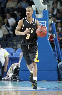 BUFFALO, NY - MARCH 15: Eric Maynor #3 of the Virginia Commonwealth Rams dribbles the ball against the Duke Blue Devils during round one of the NCAA Men's Basketball Tournament at the HSBC Arena on March 15, 2007 in Buffalo, New York. (Photo by Rick Stewa